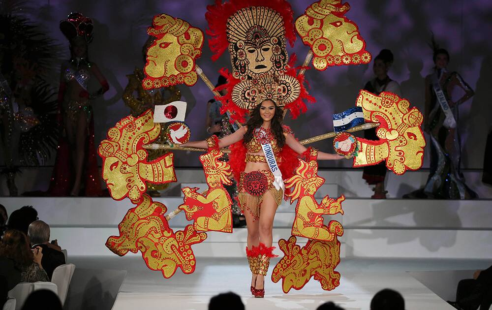 ss Honduras Monica Brocato displays the traditional consume during the Miss International Beauty Pageant in Tokyo.