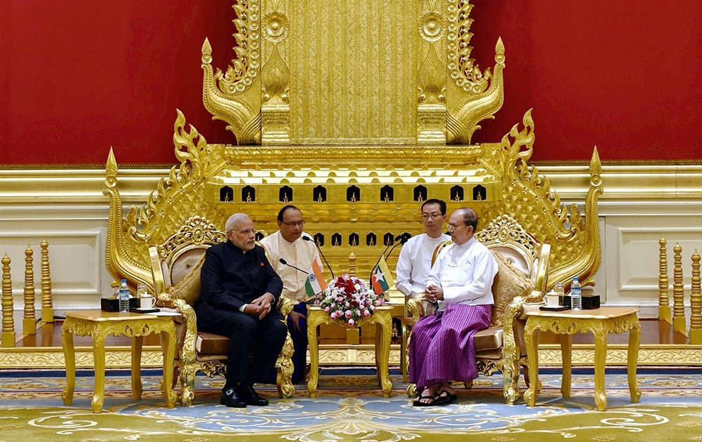 Prime Minister Narendra Modi with President of Myanmar, U Thein Sein during a meeting at Presidential Palace in Myanmar.