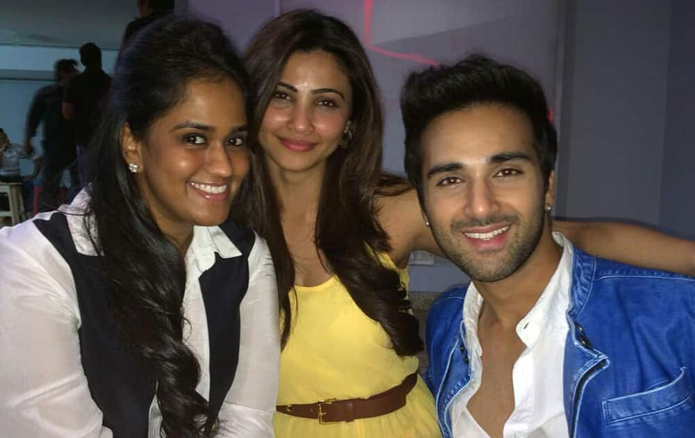 Arpita S Khan - @PulkitSamrat with daisy & pulkit at the jai oh screening ! -pic courtesy -twitter