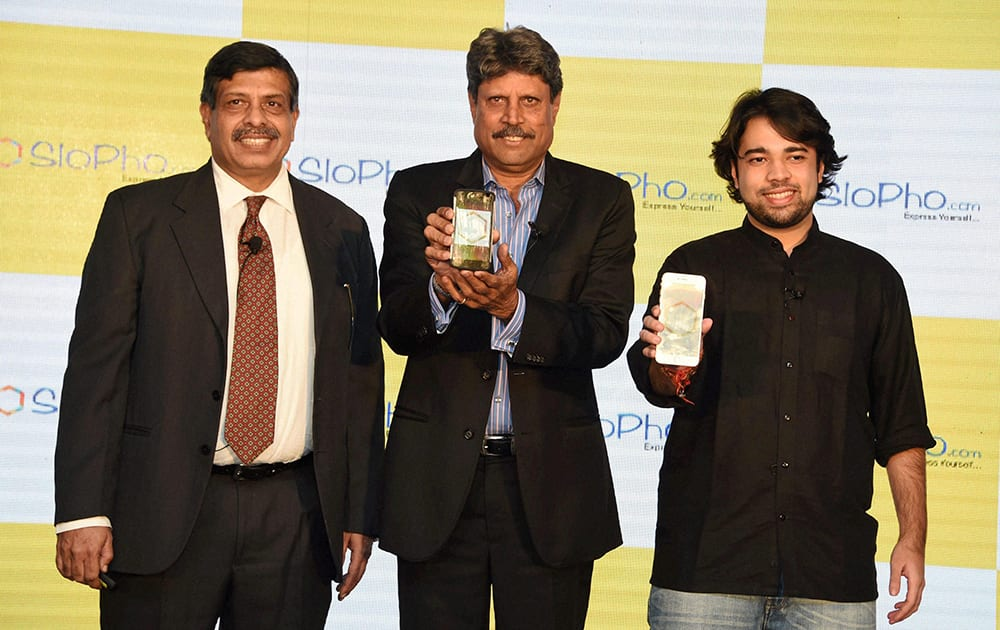 Former cricket captain Kapil Dev at the launch of SloPho, Indias first gamified collaboration platform, in New Delhi.