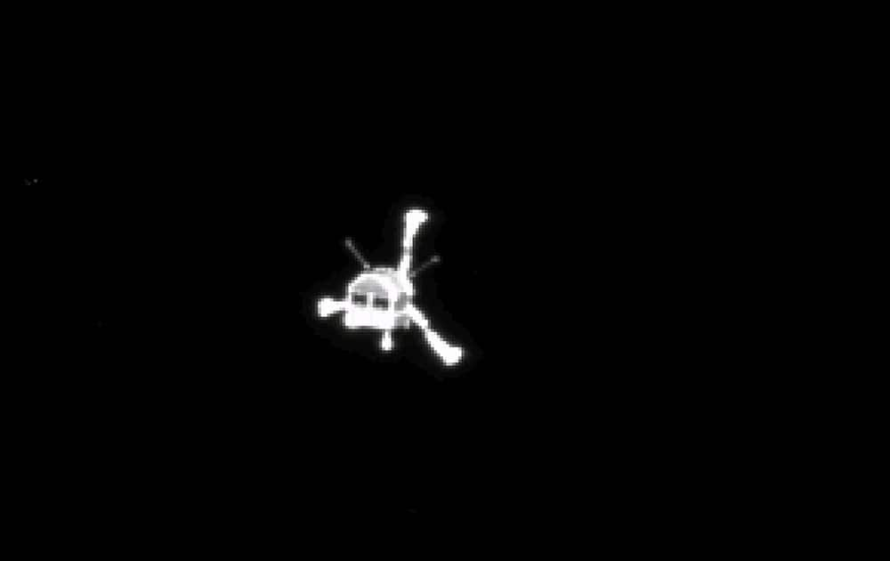 The picture of the Philae lander released by the European Space Agency ESA, was taken by Rosetta's OSIRIS system shortly after its separation from the mother spaceship.