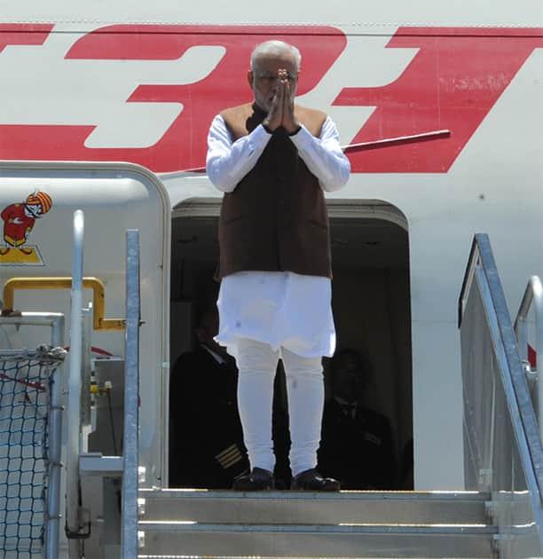 PM Narendra Modi arrives at Brisbane, Australia for G20 summit.