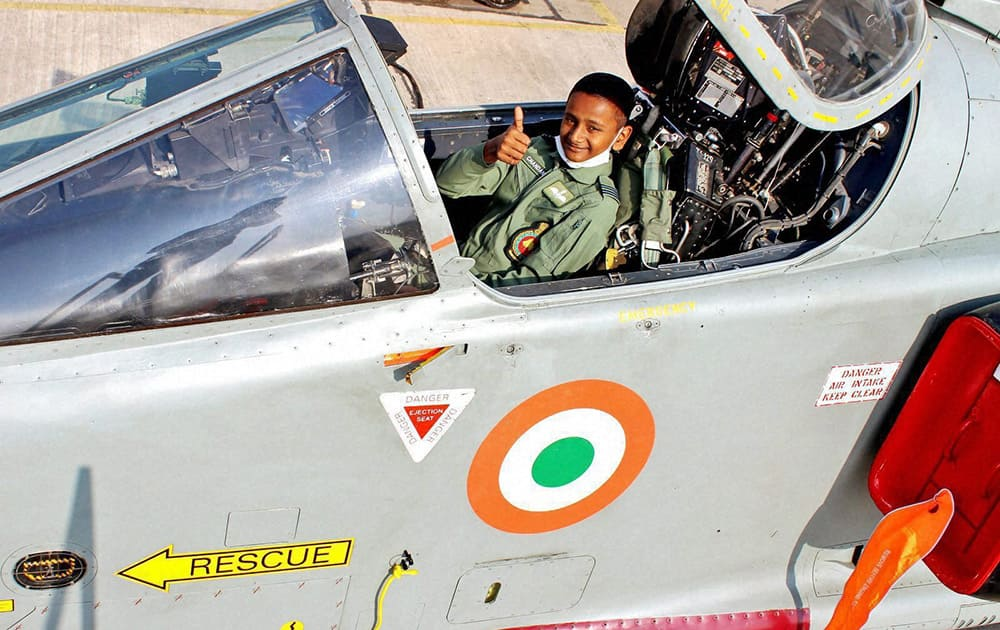 Master Chandan who is suffering from cancer, during a visit to Air Force Station, Ambala.