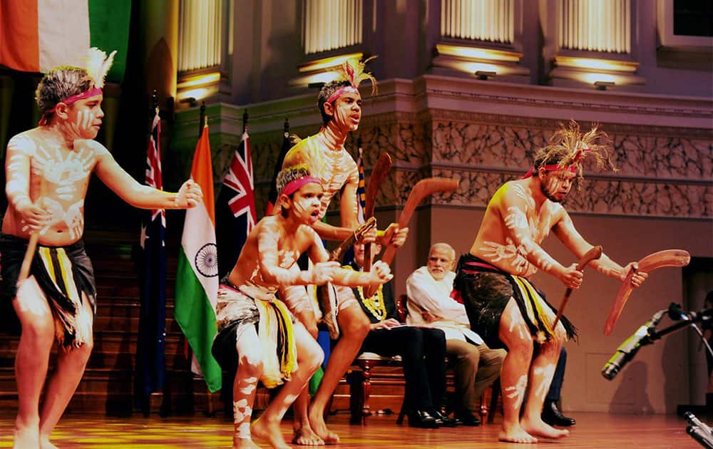 Prime Minister Narendra Modi watching a cultural performance at the Civic Reception at City Hall in Brisbane, Australia.
