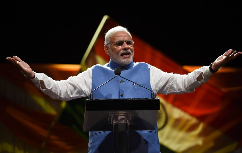 Indian Prime Minister Narendra Modi addresses thousands of people from the Indian community living in Australia at a cultural event at Sydney Olympic park in Australia.