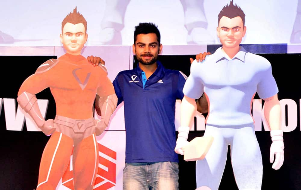 Cricketer Virat Kohli at the launch of website, logo and 3D animated character in Gurgaon.