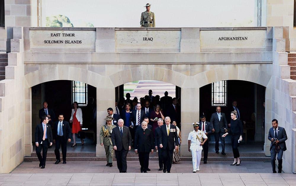 Prime Minister Narendra Modi during a visit to Australian War Memorial in Canberra.