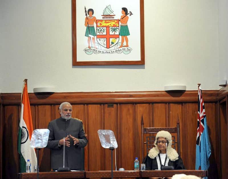 PM Narendra Modi addressing the Parliament of Fiji, in Suva, Fiji.
