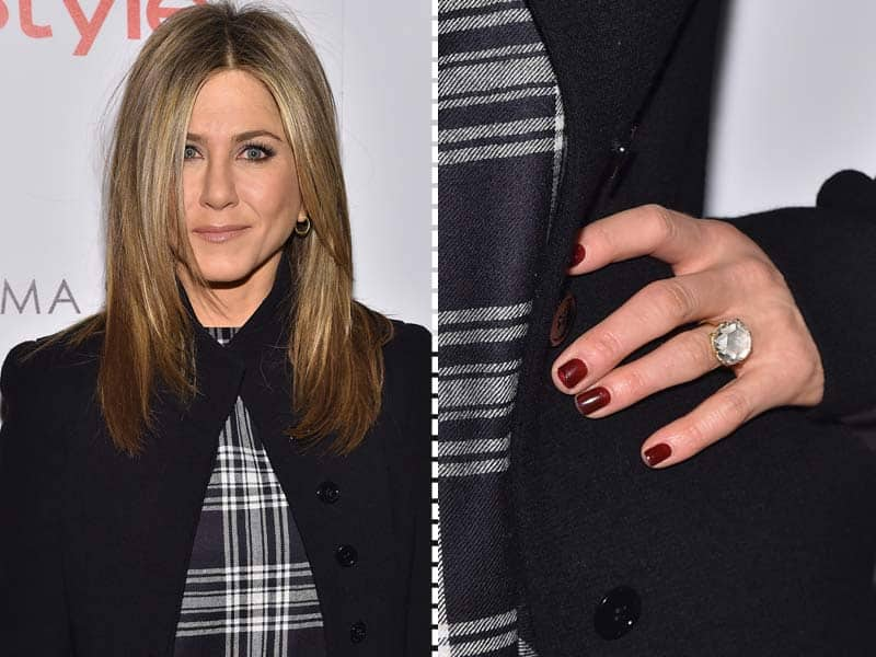 Jennifer Aniston spotted with her enormous engagement ring at the screening of her upcoming movie Cake.