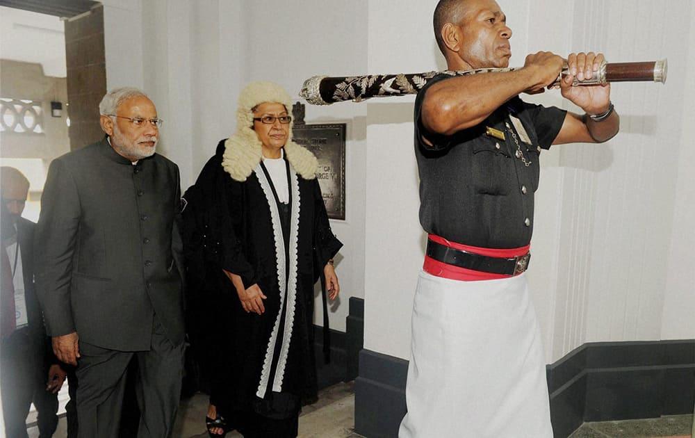 Prime Minister Narendra Modi with the Speaker of Fiji Parliament, Jiko Luveni on his arrival at Parliament in Suva, Fiji.