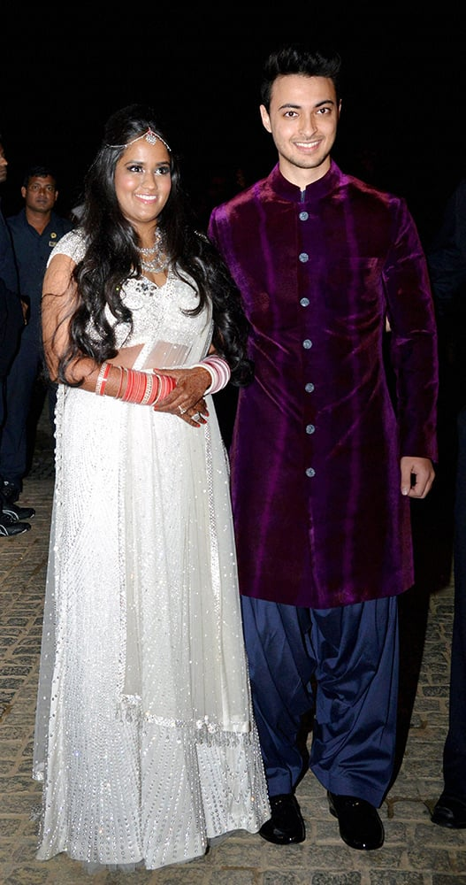 Salman Khans sister Arpita Khan with businessman Aayush Sharma after her wedding at Taj Falaknuma Hotel in Hyderabad.