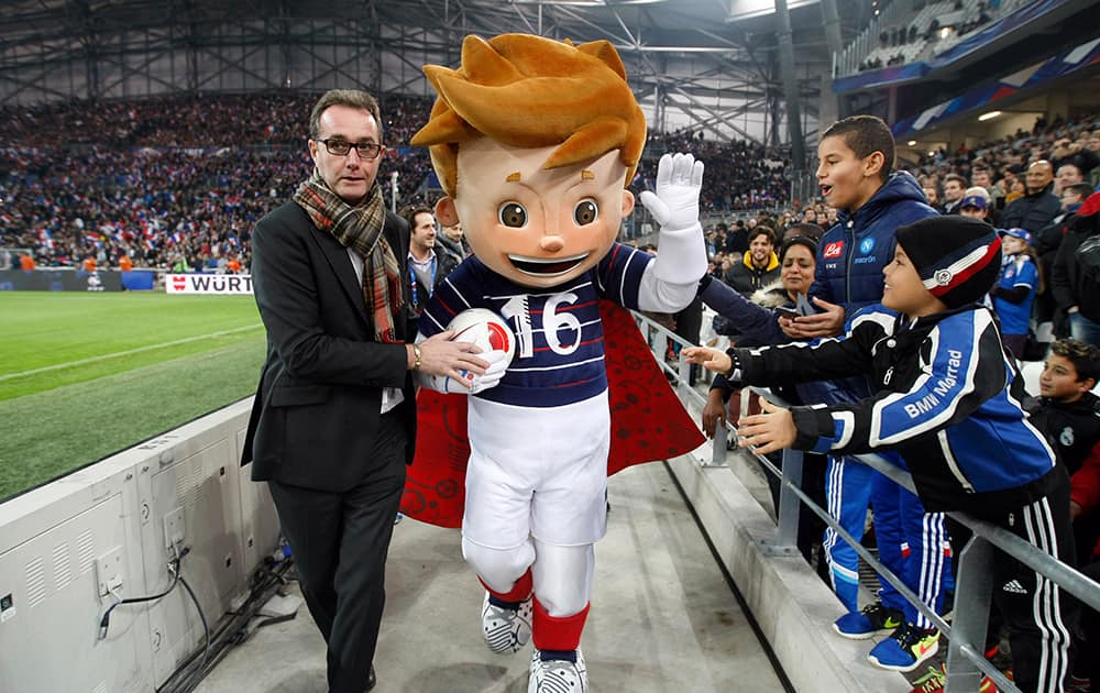 The mascot of the Euro 2016 soccer tournament appears before the international friendly soccer match between France and Sweden at the Velodrome Stadium in Marseille, southern France.
