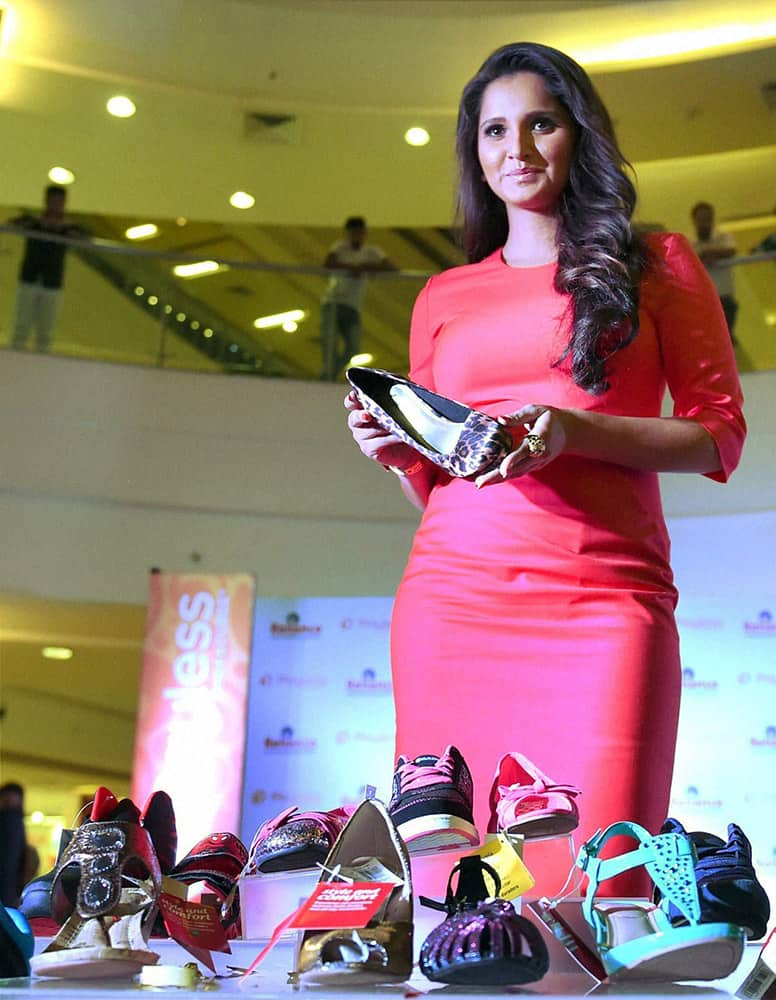 Tennis player Sania Mirza during the launch of Payless Shoesource store in Mumbai.