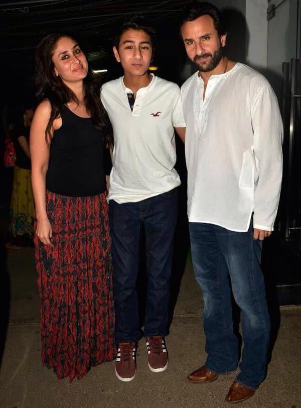 Kareena with Saif's son Ibrahim and Saif at Happy Ending Screening. -twitter