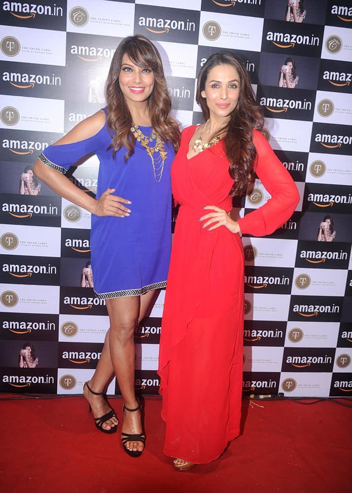Bipasha Basu and Malaika Arora Khan during the announcement of partnership between Amazon.in and The Label Corp in Mumbai.-  Rajneesh Londhe.dna