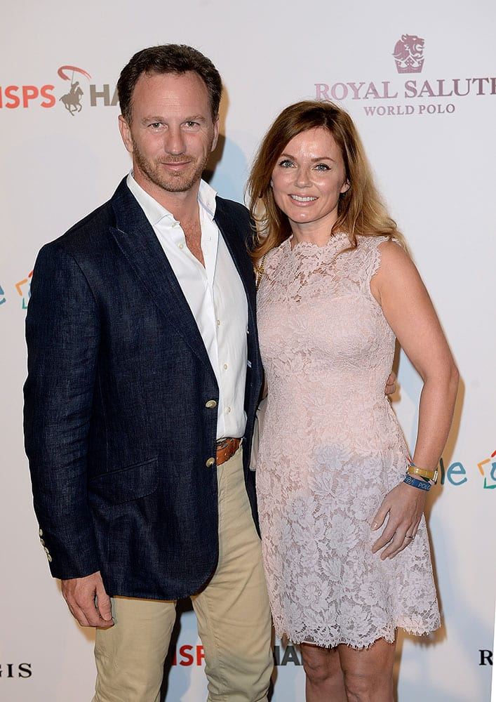 Christian Horner, left, and Geri Halliwell attend the Sentebale Polo Cup presented by the Royal Salute World Polo at the Ghantoot Polo Club in Abu Dhabi, United Arab Emirates.