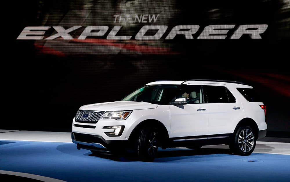 The 2016 Ford Explorer is presented during the Los Angeles Auto Show, in Los Angeles.