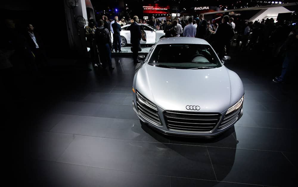 The 2015 Audi R8 is on display during the Los Angeles Auto Show, in Los Angeles.