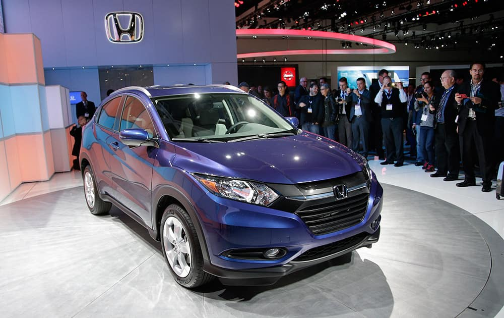 The 2016 Honda HR-V crossover is unveiled at the Los Angeles Auto Show, in Los Angeles.