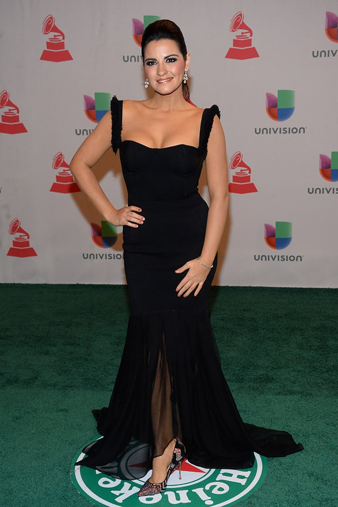 Maite Perroni arrives at the 15th annual Latin Grammy Awards at the MGM Grand Garden Arena in Las Vegas.