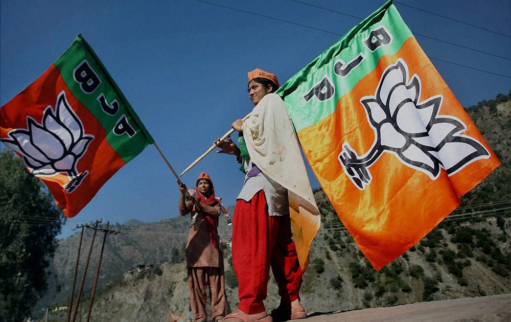 Supporters at BJP President Amit Shahs election rally in Ramban, J & K.