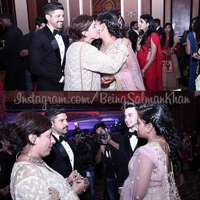 Farhan Akhtar and his sister Zoya with the newly wed couple.