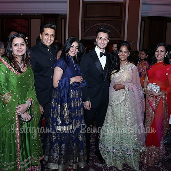 The young couple with Riteish Deshmukh and his family.