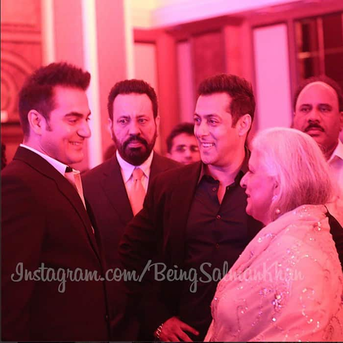 Arbaaz, Salman and Shera with guests.