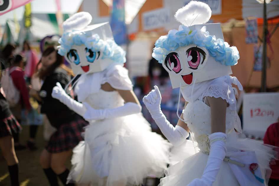 Mascots called 'Sanasenabona' from Nagasaki prefecture's Kujyuukushima perform at World Character Summit in Hanyu, Saitama prefecture, north of Tokyo.