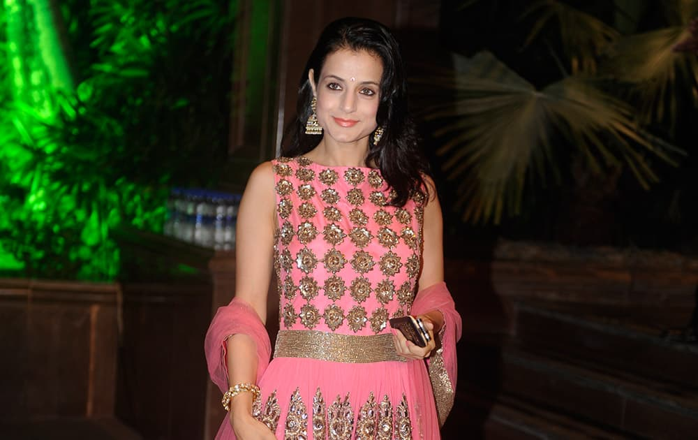 Amisha Patel at Arpita Khan's marriage reception in Mumbai. -dna
