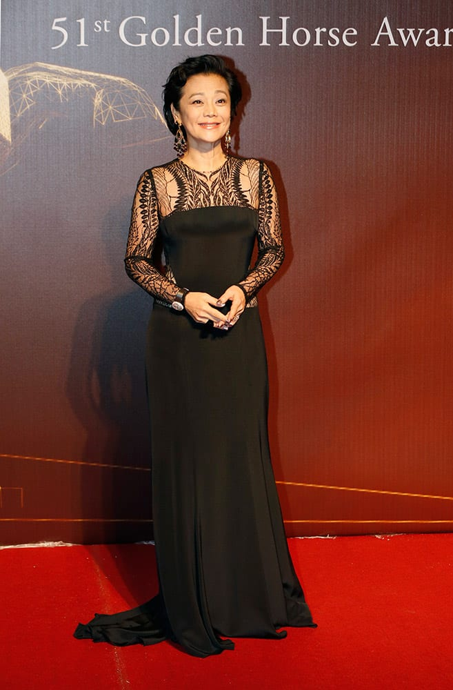 Hong Kong director and actress Sylvia Chang poses on the red carpet at the 51st Golden Horse Awards in Taipei, Taiwan.