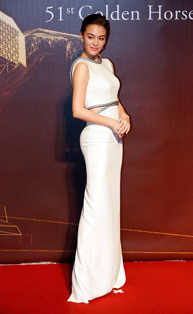 Taiwanese actress Sandrine Pinna poses on the red carpet at the 51st Golden Horse Awards in Taipei, Taiwan.