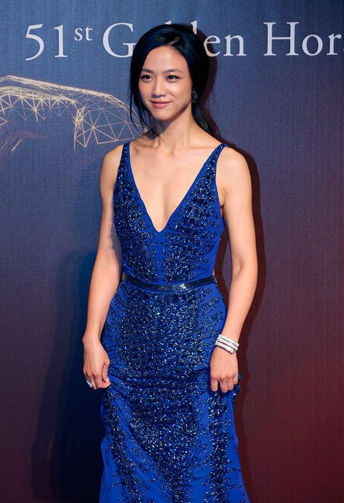 Hong Kong actress Tang Wei arrives at the 51st Golden Horse Awards in Taipei, Taiwan.