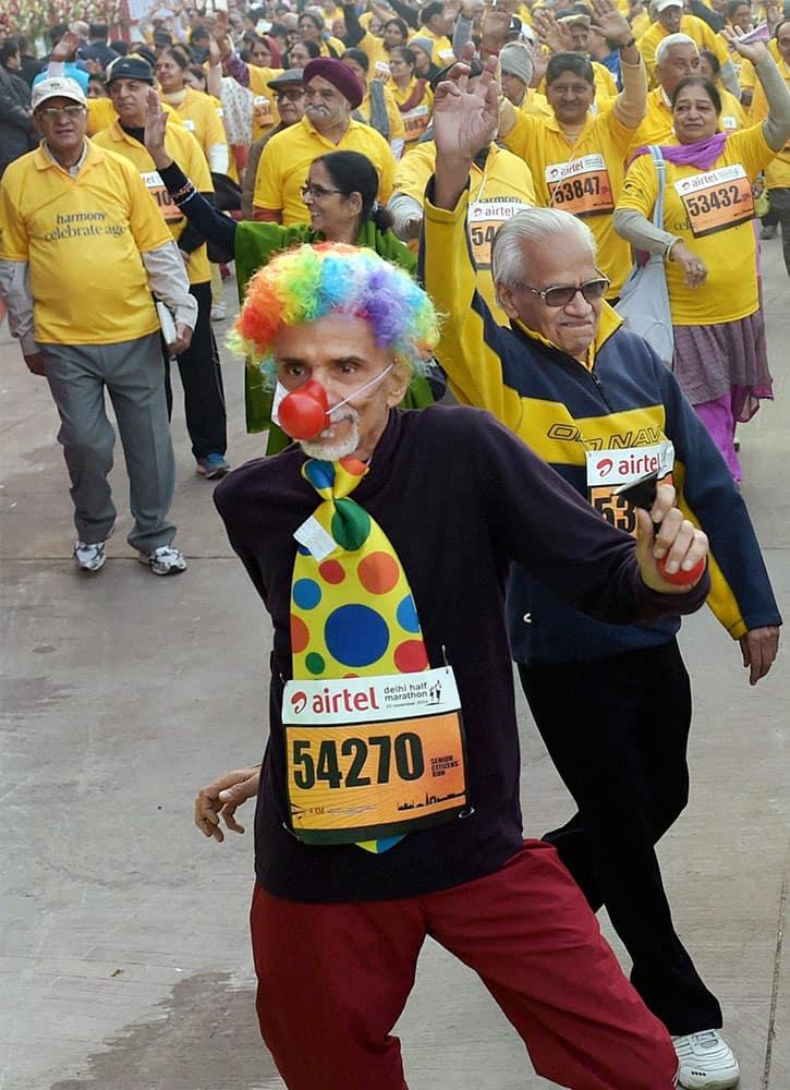 Senior-citizens participate in Airtel Delhi Half Marathon 2014 in New Delhi.