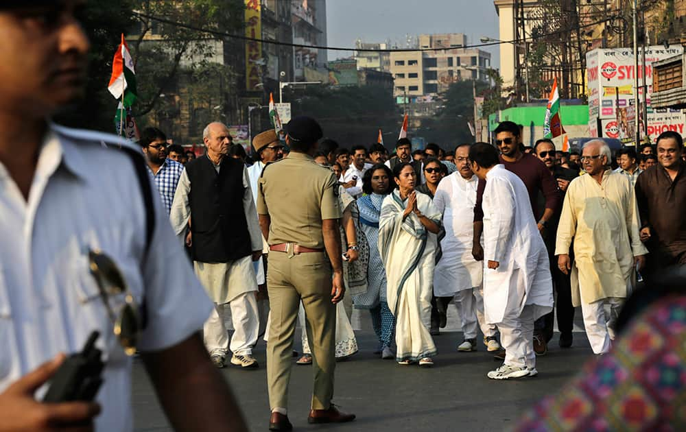 West Bengal state Chief Minister and Trinamool Congress party (TMC) chief Mamata Banerjee, leads a protest against the federal government in Kolkata.