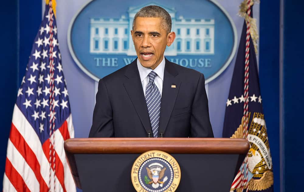 President Barack Obama speaks to the media in the briefing room of the White House, in Washington, after the Ferguson grand jury decided not to indict police officer Darren Wilson in the shooting death of Michael Brown.