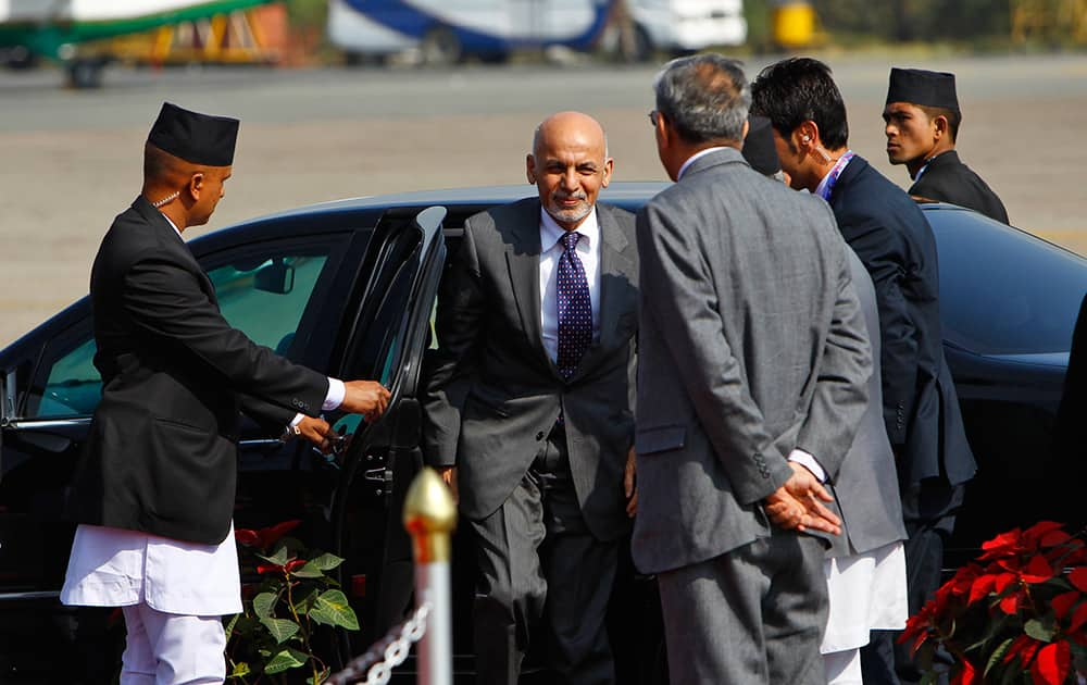 Afghanistan President Ashraf Ghani, arrives at the Tribhuwan Airport to attend the 18th summit of South Asian Association for Regional Cooperation (SAARC) in Katmandu, Nepal.