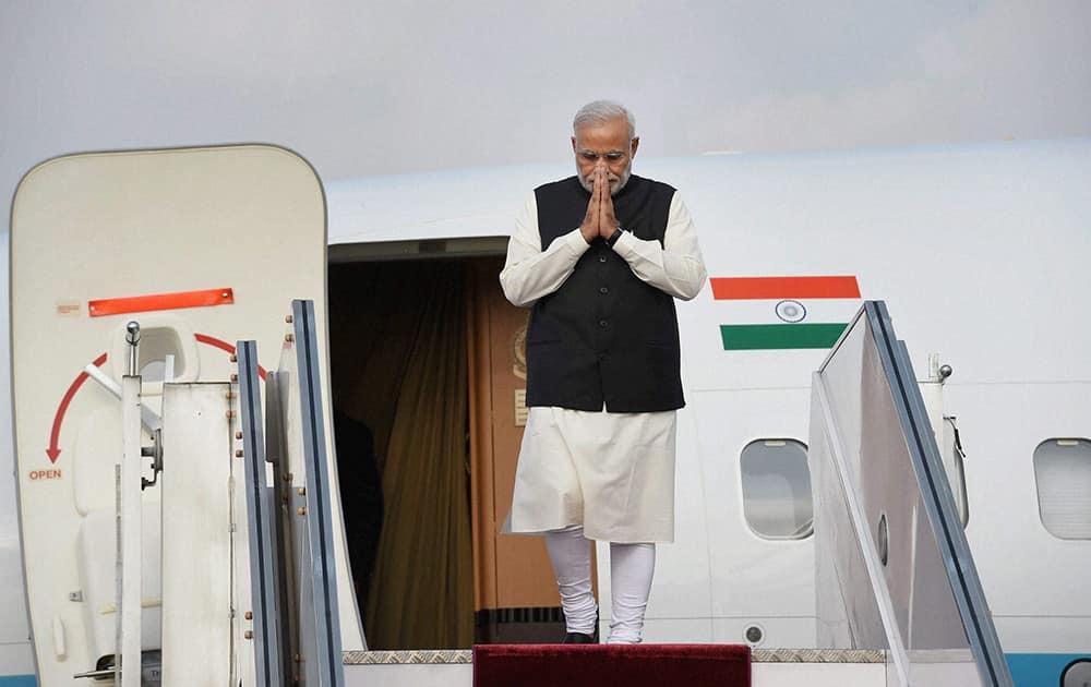 Prime Minister Narendra Modi on his arrival at International airport in Kathmandu, Nepal.