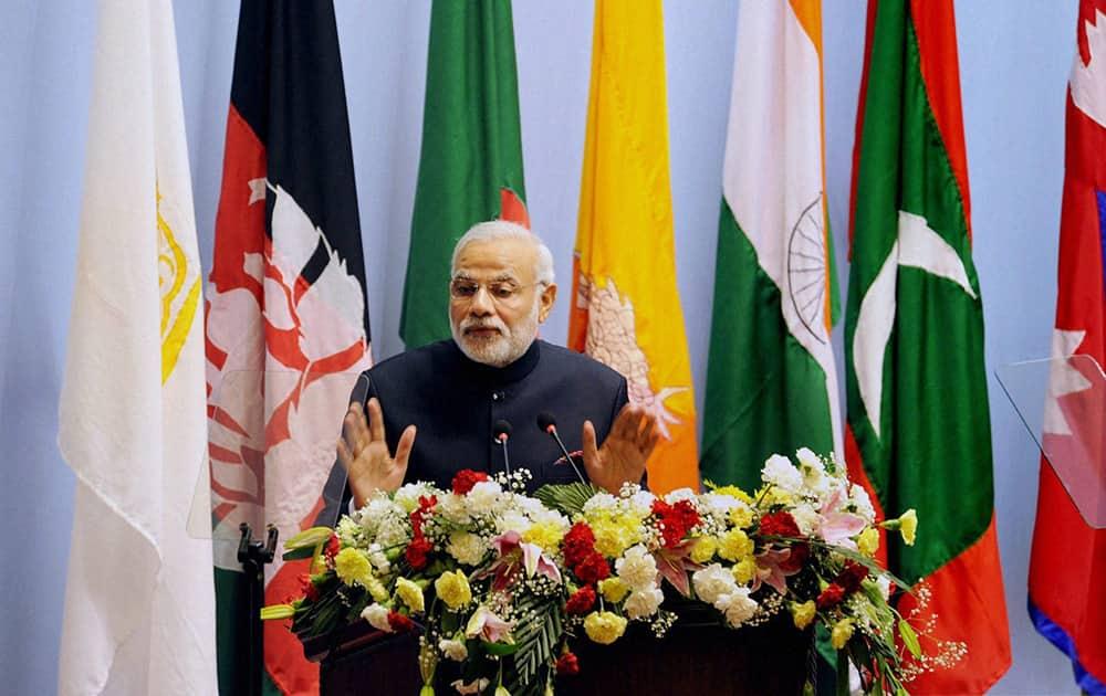 PM Narendra Modi addresses the inaugural session of 18th SAARC Summit in Kathmandu.