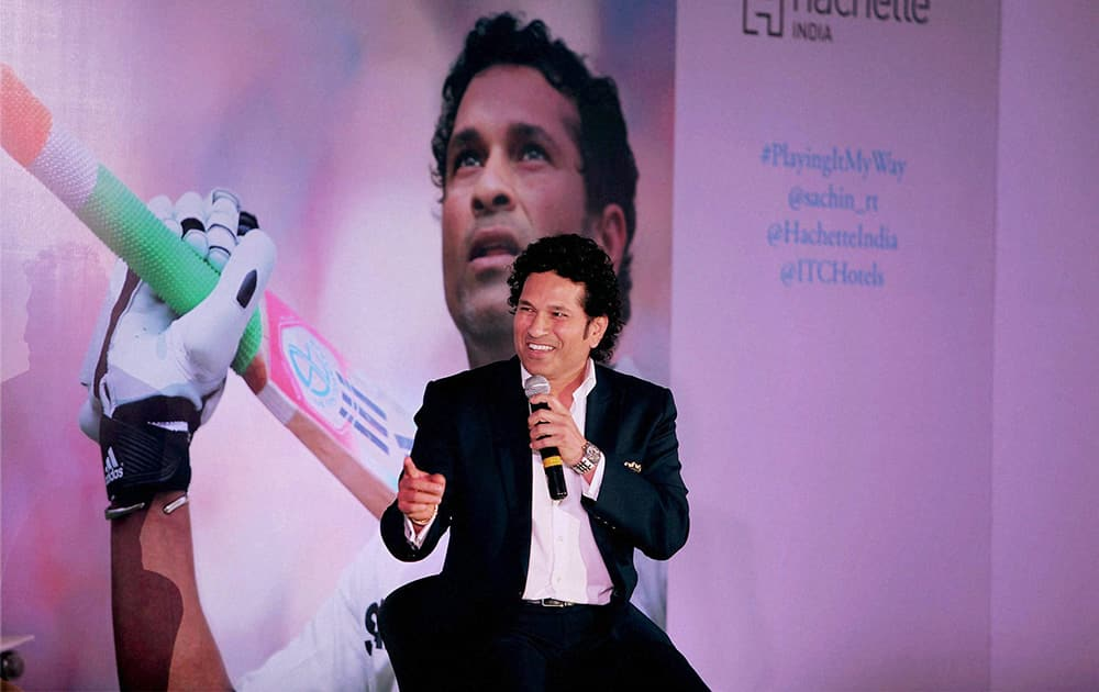 Cricket legend Sachin Tendulkar speaks during the Delhi launch of his autobiography 'Playing It My Way' in New Delhi.