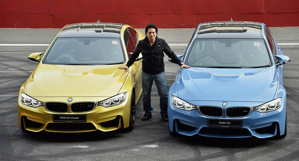 Cricket legend Sachin Tendulkar at the launch of BMW M3 and M4 cars in Greater Noida.