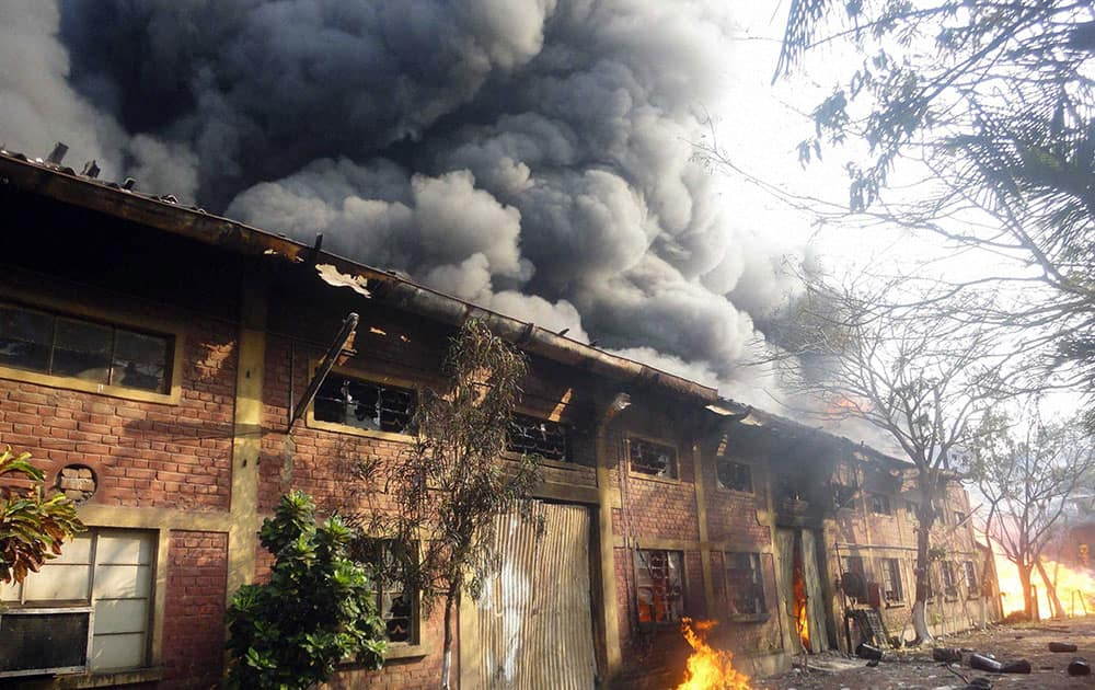 Smoke blows up after fire broke out at a Gum factory at Maheshtala in South 24 Pargana district in West Bengal.