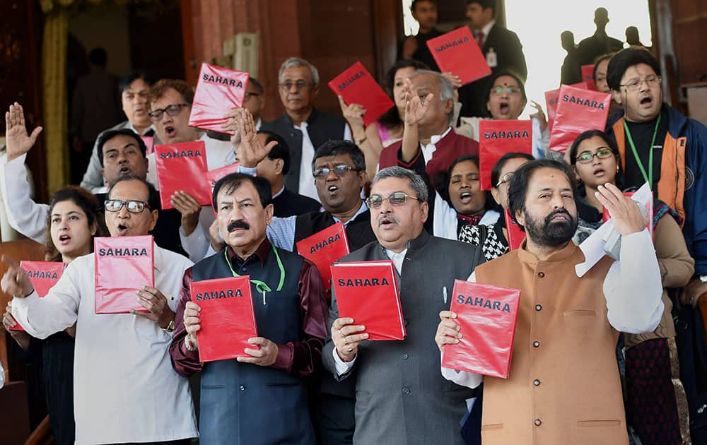 Trinamool Congress MPs during a protest at the winter session of Parliament in New Delhi.