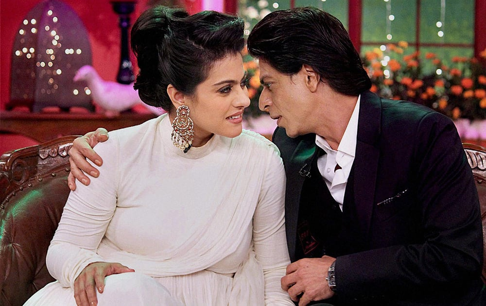 Shah Rukh Khan and Kajol at a promotional event in Mumbai.