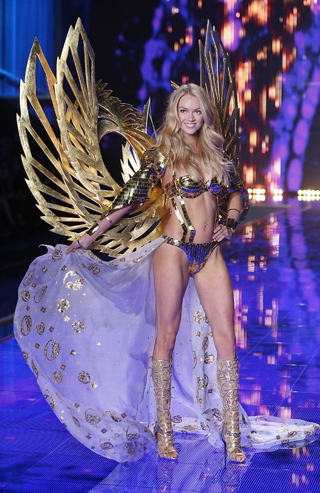 Model Lindsay Ellingson displays a creation at the Victoria's Secret fashion show in London.