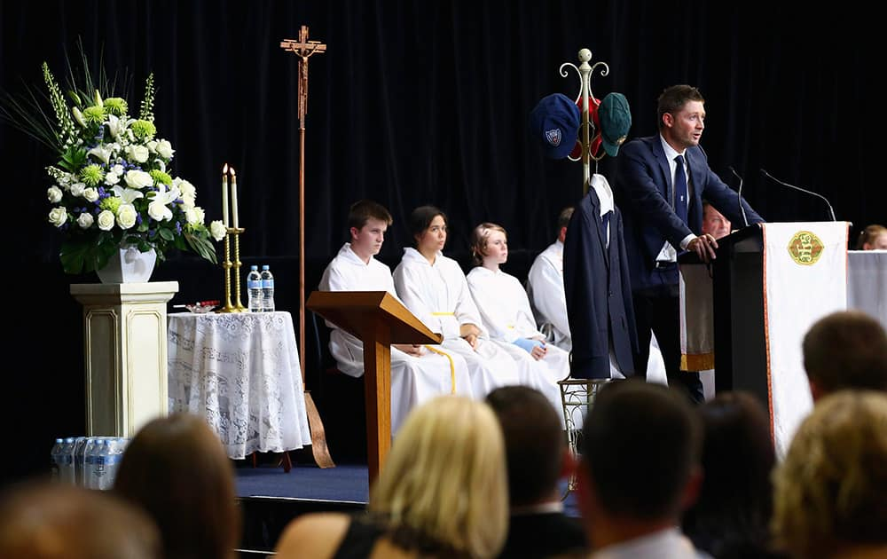 Australian cricket captain Michael Clarke speaks at the funeral of Phillip Hughes in Macksville, Australia.