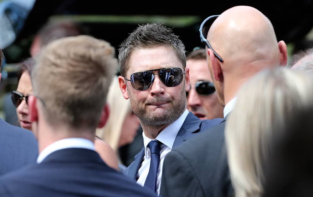 Australia Cricket captain Michael Clarke attends the funeral of Australian cricketer Phil Hughes in Macksville, Australia.