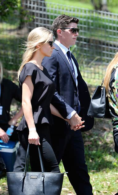 NSW cricketer Sean Abbott arrives for the funeral of Australian cricketer Phil Hughes in Macksville, Australia.