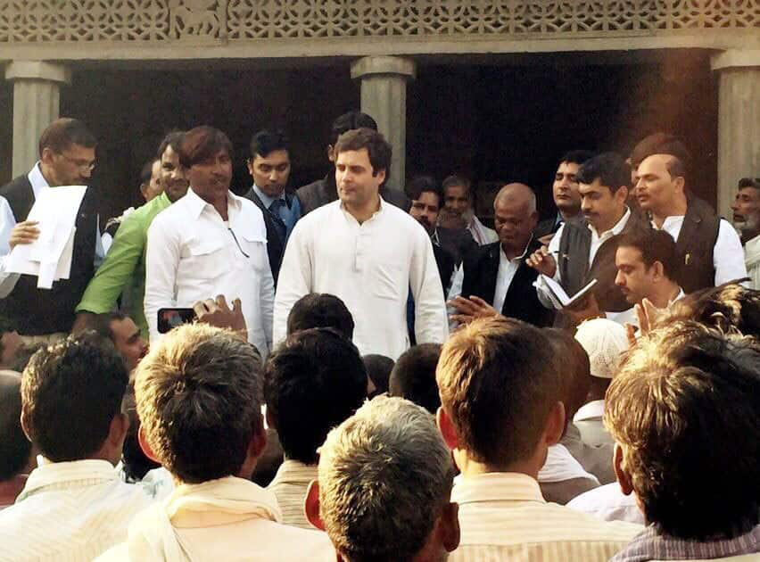 Congress Vice President Rahul Gandhi along with his party workers during his two day visit to Amethi-Raebareli, in Amethi.