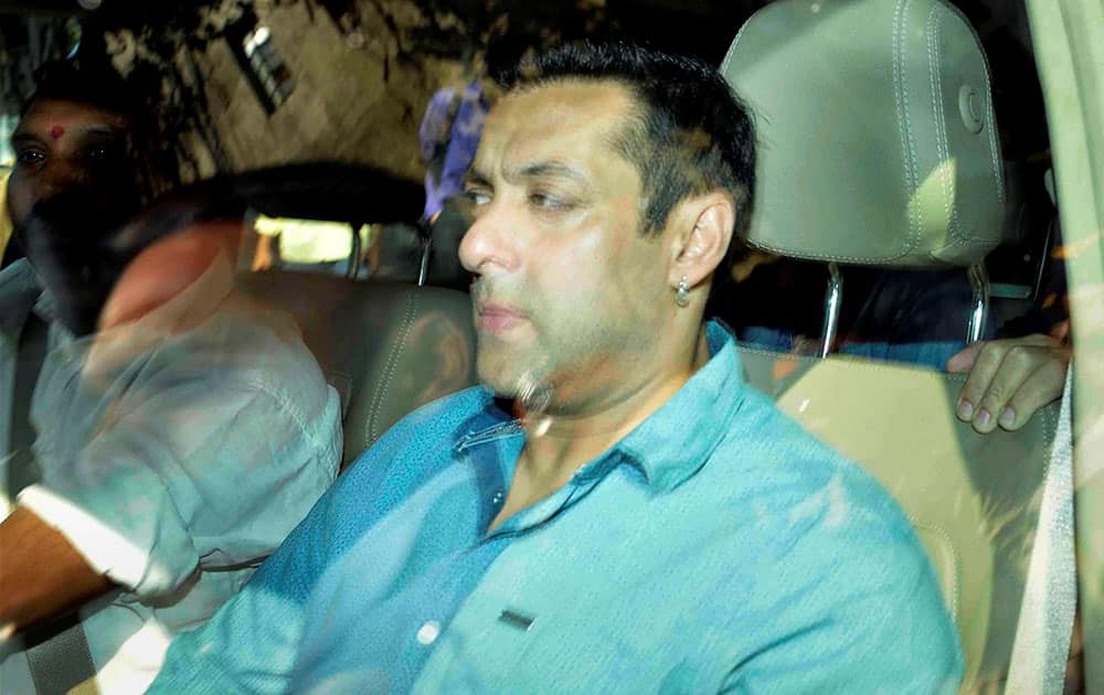 Bollywood actor Salman Khan arrives at the Mumbai Sessions Court for hearing of hit-and-run Case in Mumbai.
